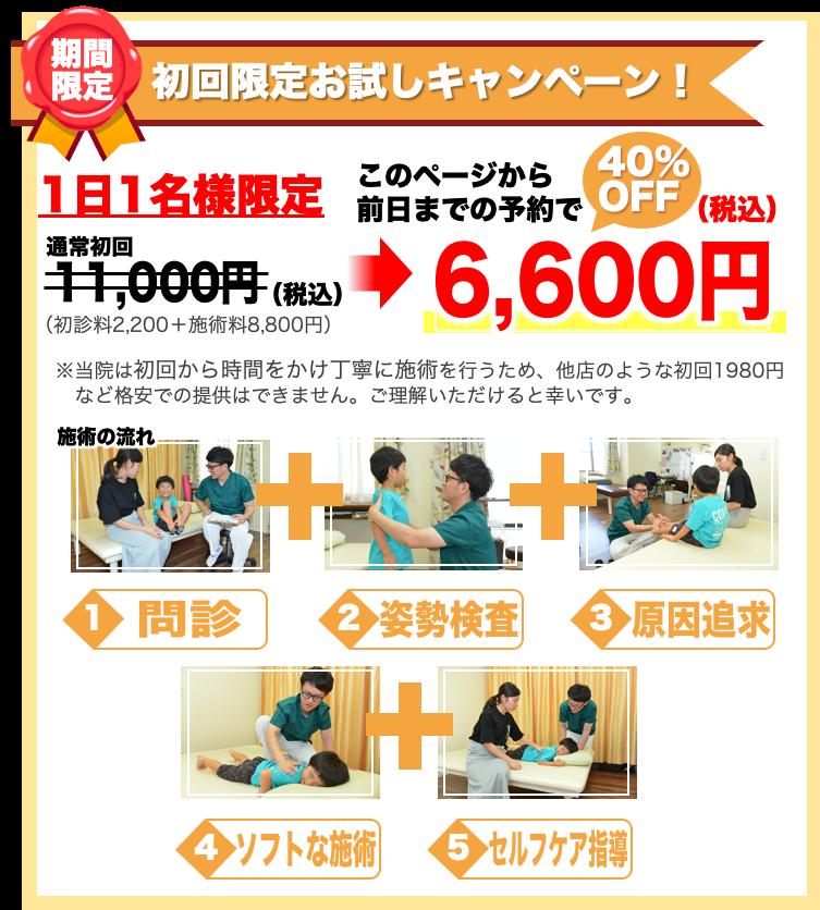 初回限定お試しキャンペーン1日1名様限定11,000円が40%OFF!6,600円